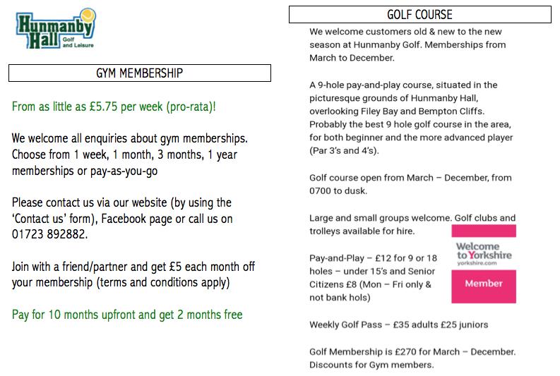 Gym memb golf